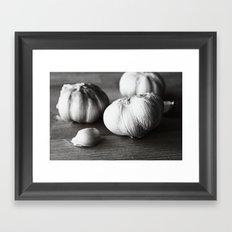 Garlic Black and White Food Photography Framed Art Print