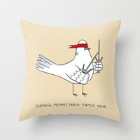 ninja turtle Throw Pillows featuring Teenage Mutant Ninja Turtle Dove by Dan Connolly