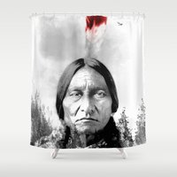 native american Shower Curtains featuring Native American II by Maioriz Home