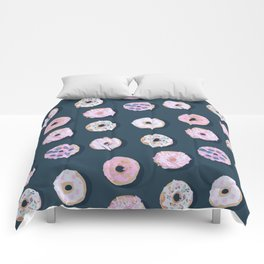 Cute donuts pattern on dark blue Comforters