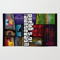 grand theft auto Area & Throw Rugs featuring Grand Theft Literature by Mitul Mistry