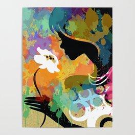 Mädchen mit Blume Poster