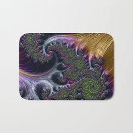 Amazing Gorgeous Intricate Elegant Fractal Flourish Swirls Gold Purple Colorful Abstract Bath Mat