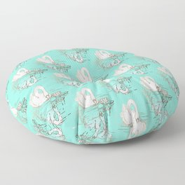 Beautiful Swan Reflection - Riptide Aqua Floor Pillow