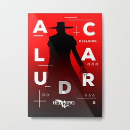 Alucard Hellsing  Disjointed Text Poster Style Metal Print