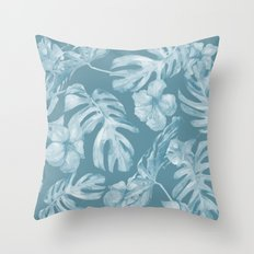 Tropical Escape Teal Blue Leaves + Hibiscus Throw Pillow