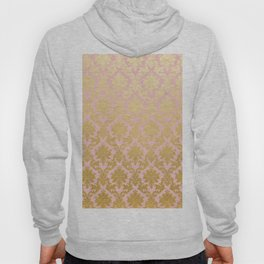 Princess like - Luxury pink gold ornamental damask pattern Hoody
