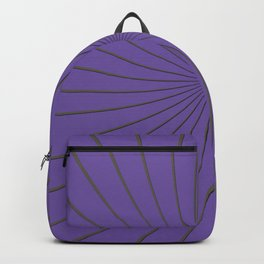 3D Purple and Gray Thin Striped Circle Pinwheel Digital Graphic Design Backpack
