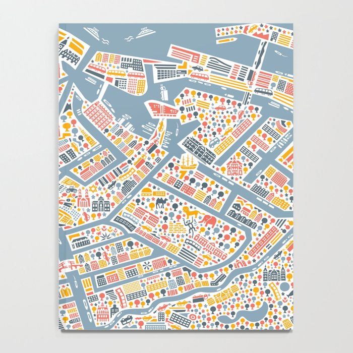 Amsterdam City Map Poster Notebook by vianina Society6