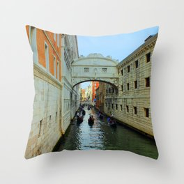 Bridge of Sighs, Venice, Italy,  in the late afternoon sun. Throw Pillow