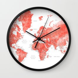 Living coral watercolor world map with cities Wall Clock