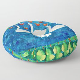 Family by Lake Floor Pillow