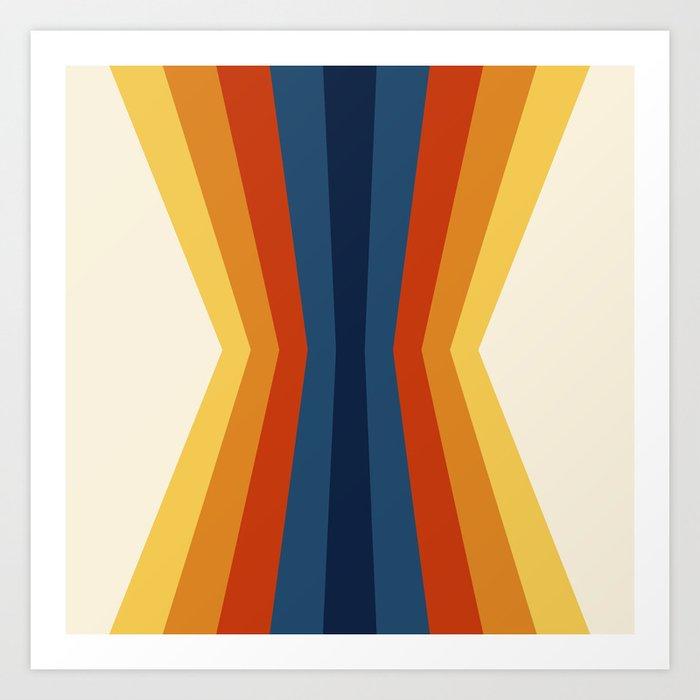 Bright 70's Retro Stripes Reflection Kunstdrucke