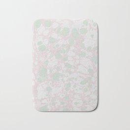Pastel Paint Spill Pattern Green, Pink, White Bath Mat