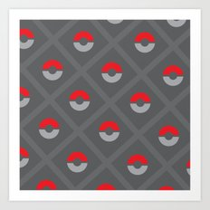 Pokéballs and Stripes Art Print