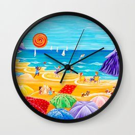 Parasol Parade - Happy Day on the Beach Wall Clock
