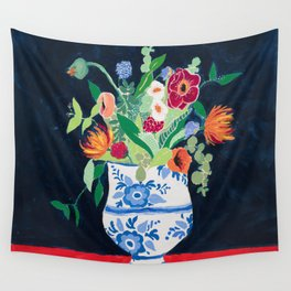 Bouquet of Flowers in Blue and White Urn on Navy Wall Tapestry