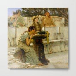 """Sir Lawrence Alma-Tadema """"Sappho and Alcaeus"""" Metal Print"""