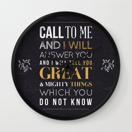 Great and Mighty Things - Jeremiah 33:3 Wall Clock