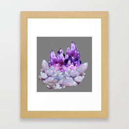 SPARKLY WHITE QUARTZ & PURPLE AMETHYST CRYSTAL Framed Art Print