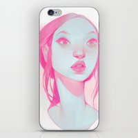 loish iPhone & iPod Skins featuring visage - pink by loish