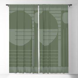 Monochromatic sun (green) Blackout Curtain