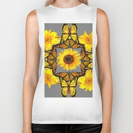WESTERN STYLE YELLOW SUNFLOWERS & ORANGE MONARCH BUTTERFLIES Biker Tank