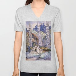 Emily Carr - Haida Totems, Cha-atl, Queen Charlotte Island - Canada, Canadian Oil Painting Unisex V-Neck
