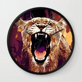 african lioness safari cat v2 vector art late sunset Wall Clock