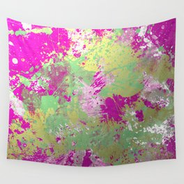 Metallic Pink Splatter Painting - Abstract pink, blue and gold metallic painting Wall Tapestry