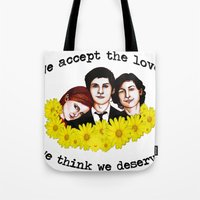 the perks of being a wallflower Tote Bags featuring Perks of being a Wallflower by Lydia Dick
