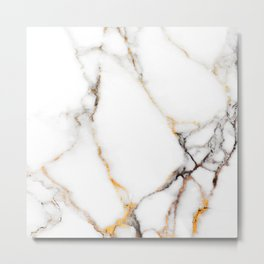 White gray and rose-gold faux marble Metal Print