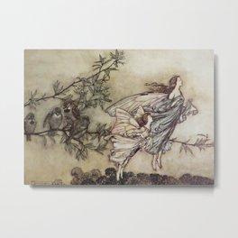 """Fairies Tiff with the Birds"" by Arthur Rackham Metal Print"
