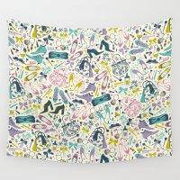heels Wall Tapestries featuring Heels and Handbags (sweet) by Anna Deegan