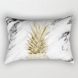 Gold Pineapple on Marble Rectangular Pillow