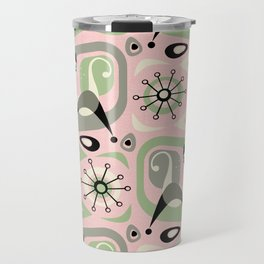 Siamese Cat Abstract on Pink Travel Mug