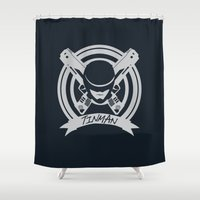 robocop Shower Curtains featuring Tinman Coat of Arms by Suuki