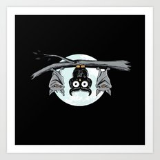 Cute Owl In The Night Art Print
