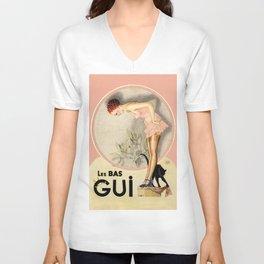Vintage French Fashion Ad Unisex V-Neck