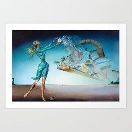 Salvador Dali - Trilogy of the Desert, Mirage surrealist female form painting Art Print