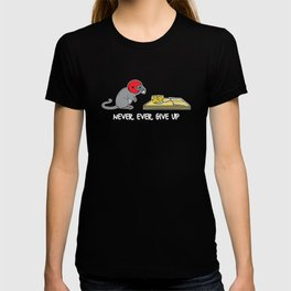 Never ever give up (dark) T-shirt