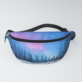 """Lavender Lights"" Aurora Borealis watercolor painting Fanny Pack"