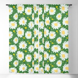 Spring Daisies 001 on Green Blackout Curtain