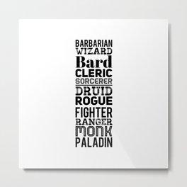 Character Classes Metal Print