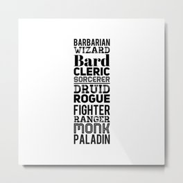 Character Classes Metal Print