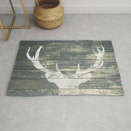 Rustic White Deer Silhouette Teal Wood A311 Rug