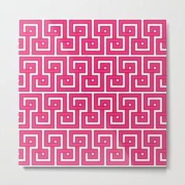 Greek Key - Pink Metal Print