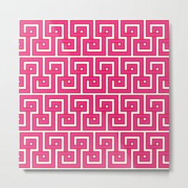 Greek Key - Pink Metal Print
