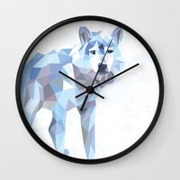 low poly Wall Clocks featuring Low Poly Wolf by idrux