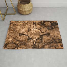Antique World Map & Compass Rose Rug